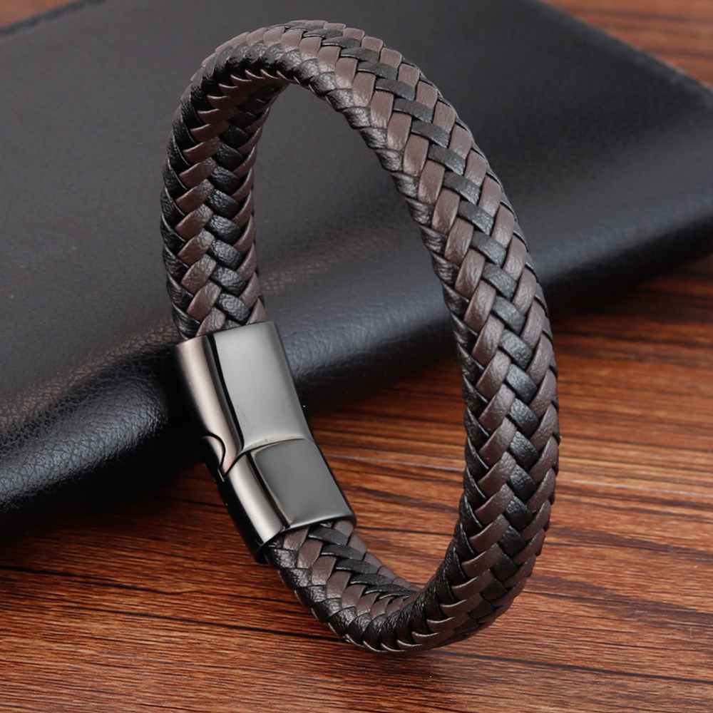 Classic Design Hand-woven Bracelet Personality Gift For Men Genuine Leather Bracelet&Bangle Special Birthday Party Jewelry image