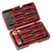 Отвертка диэлектрическая с насадками FELO 06391306 (12 предметов, двухкомпонентная рукоятка, кейс)