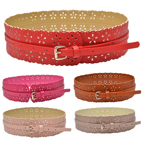 Women's Fashion PU Leather Hollow Flower Waist Belt Wide Buckle Waistband Strap