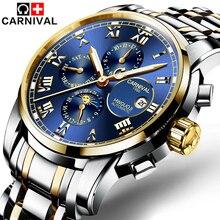 6 руки многофункциональный механический часы световой дисплей римские цифры carnival top brand водонепроницаемый модные мужские часы 2017