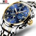 6 multifuncionais mão relógios mecânicos mostrador luminoso algarismos romanos carnival marca top homens da forma do relógio à prova d' água 2017
