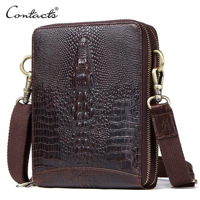 Top Qualität Männer Messenger Schulter Tasche Aus Echtem Leder Vintage männer Krokodil Umhängetasche Mit Karte Halter Handy Tasche
