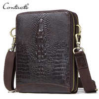 Top Quality Men Messenger Shoulder Bag Genuine Leather Vintage Men's Crocodile Crossbody Bag With Card Holder Mobile Phone Pouch