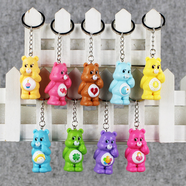 9pcs lot Kawaii Care Bear Action Figure Keychain bears Pendant Best Gift  For children 4.5 4aef1575cc