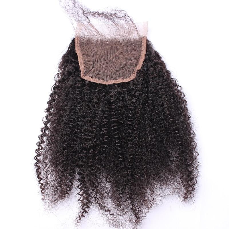 Afro Kinky Bouclés Dentelle Fermeture Avec Bébé Cheveux 4B 4C 100% - Cheveux humains (noir) - Photo 1