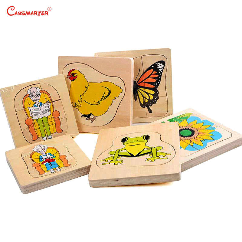 Животные головоломки деревянные Обучающие игрушки Монтессори растения Рост детские игры дома дошкольного головоломки головоломка years лет BO060-30