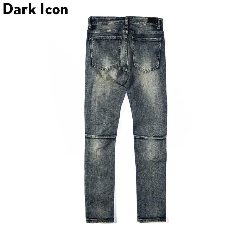 Pantalones vaqueros rasgados con icono oscuro para hombre de la calle Jeans de estilo Regular-in Pantalones vaqueros from Ropa de hombre    2