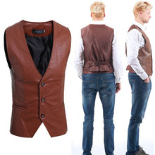 34a18ee27678f2 Zogaa Men's leather vest fashion joker blazer plus size suits casual vests  single breasted slim fit