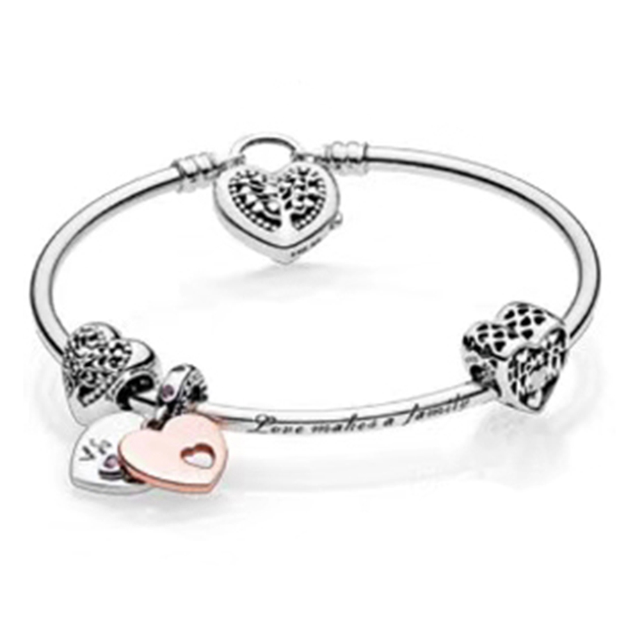 NEW 100% 925 Sterling Silver 1:1 Authentic Charm Of Life Tree And Affection Bracelet Suit Suit DIY Gift Women Original JewelryNEW 100% 925 Sterling Silver 1:1 Authentic Charm Of Life Tree And Affection Bracelet Suit Suit DIY Gift Women Original Jewelry
