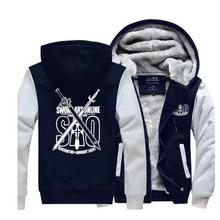 New High Quality Sword Art Online Hoodie Anime Luminous Coat Jacket Winter Men Thick Zipper Sweatshirt