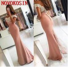 Атласные вечерние платья русалки до пола с открытыми плечами