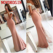 2019 Satin Prom Dresses Mermaid Off Shoulder Floor Length Evening Gowns With Lace Applique Elastic Party