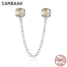 Sambaah 925 Sterling Silver Heart to Safety Chain Stopper Beads fit Pandora Style Charm Bracelet SS0264