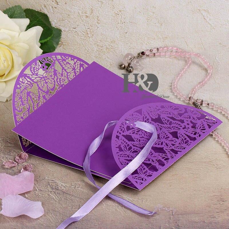 ⊱12 set/lot 7 Color Laser Cut tarjetas de invitación de la boda de ...