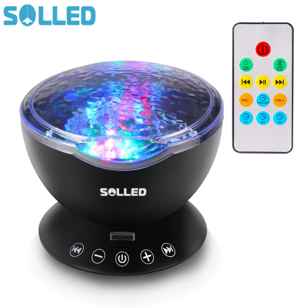 SOLLED 12 LED 7 Colors Night Light Remote Control Ocean Wave Projector with Mini Music Player for Living Room and Bedroon living with music