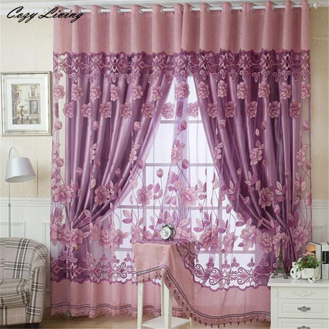 Gentil Curtain 250* 100CM Print Floral Voile Door Curtain Window Room Curtain  Divider Scarf Elegent Decor