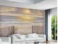3d Wallpaper Nature Sun White Sand Waves Wood Fence Ocean Views Home Decoration Non Woven Wallpaper