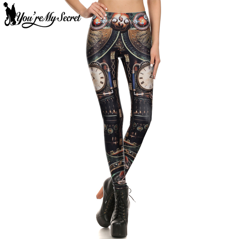 [You're My Secret] Steampunk Gear Cosplay Women Leggings 3D Printing Summer leggins Mechanical Dial Slim Women Pants Wholeale
