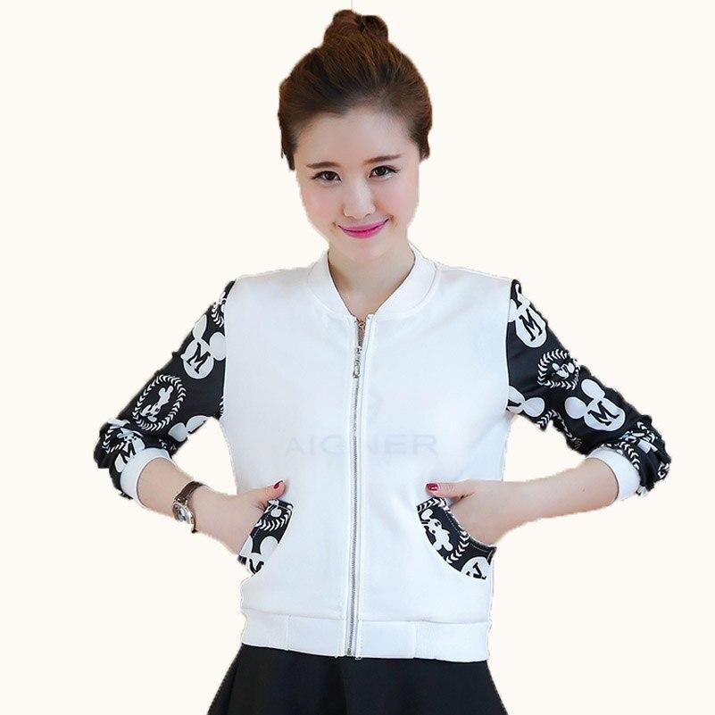 Black white color Spring Autumn Women Lady   Basic     Jacket   Long Sleeve big size Casual Coat Stand Collar Baseball slim girl coat