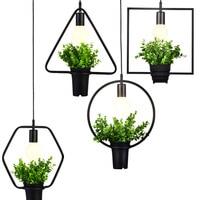 Creative Personality Retro Industrial Plants Chandelier Iron Bar Florist Store Window Balcony Decorative Lamp