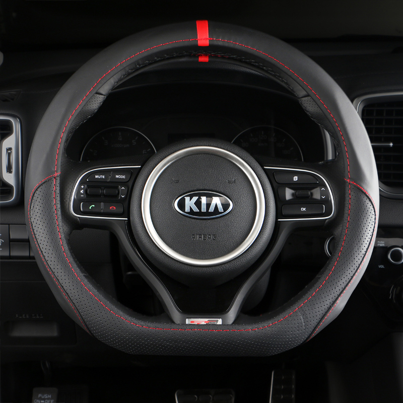 D Ring Leather Car Steering Wheel Cover Case For Kia Sportage Optima K5 2017 2018 For Audi TT For Volkswagen VW Golf 7 Mk7 GTI