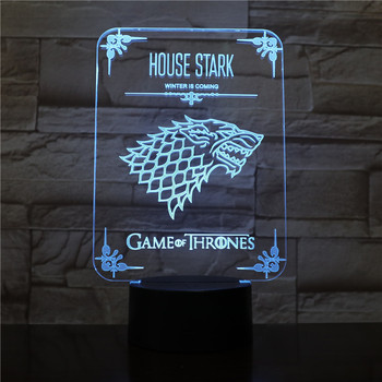 House Stark Desk lamp bedside Touch Sensor 7 Color Changing Child Kid Gift Winter is Coming Game of Thrones LED Night Light Wolf hot sale 216 autumn winter game of thrones sweatshirt men house stark mens thick jacket a song of ice and fire winter is coming