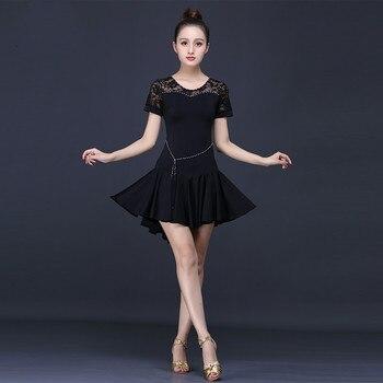 Latin Dance Costumes Sexy Lace Dancewear for Women Short-sleeve Ballroom Tango Cha Cha Rumba Costumes Stage Performance Dress
