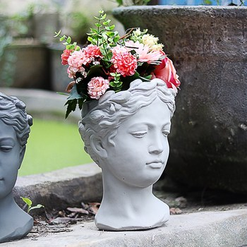 Greek Goddess Statue Decoration 8 Colors Creative Portrait Flower Pot Retro Art Vase Cement Head Flower Pot Venus
