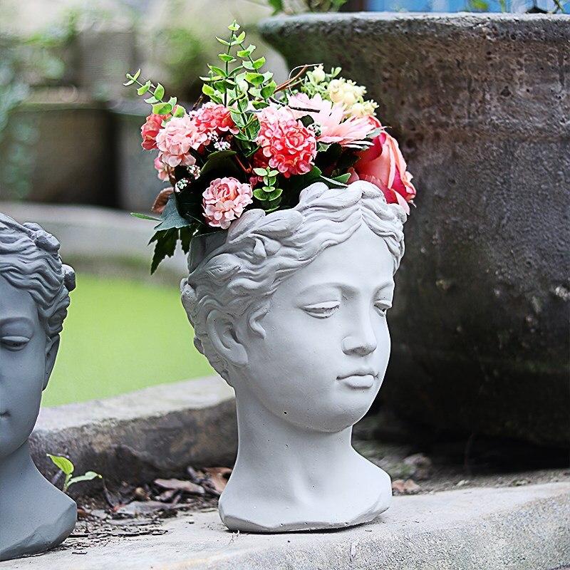 Greek Goddess Statue Decoration 8 Colors Creative Portrait Flower Pot Retro Art Vase Cement Head Flower Pot Venus