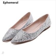 Женская обувь на плоской подошве, расшитая блестками, для свадебной вечеринки, с острым носком, на скрытом каблуке, без шнуровки, большие размеры 45, 13, 34, золотого, серебряного цвета