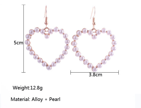 Heart Shaped Pearl Earrings For Women