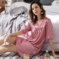 CherLemon Women's Summer Sexy Satin Lingerie Sleepshirt Solid Lace Soft Silky Knee Length Sleepwear V Neck Fashion Nightgown