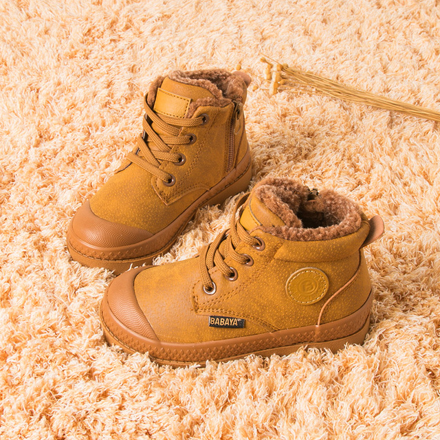 Children Boy Boots 2018 Autumn High leather Martin Boots for boy Rubber Anti slip Snow Boots Fashion Lace-up Winter Shoes