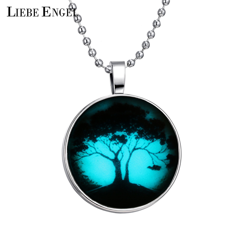 LIEBE ENGEL New Tree Necklace Glass Cabochon Glow In The Dark Pendant Necklace Fine Jewelry Silver Chain Necklace Women Party