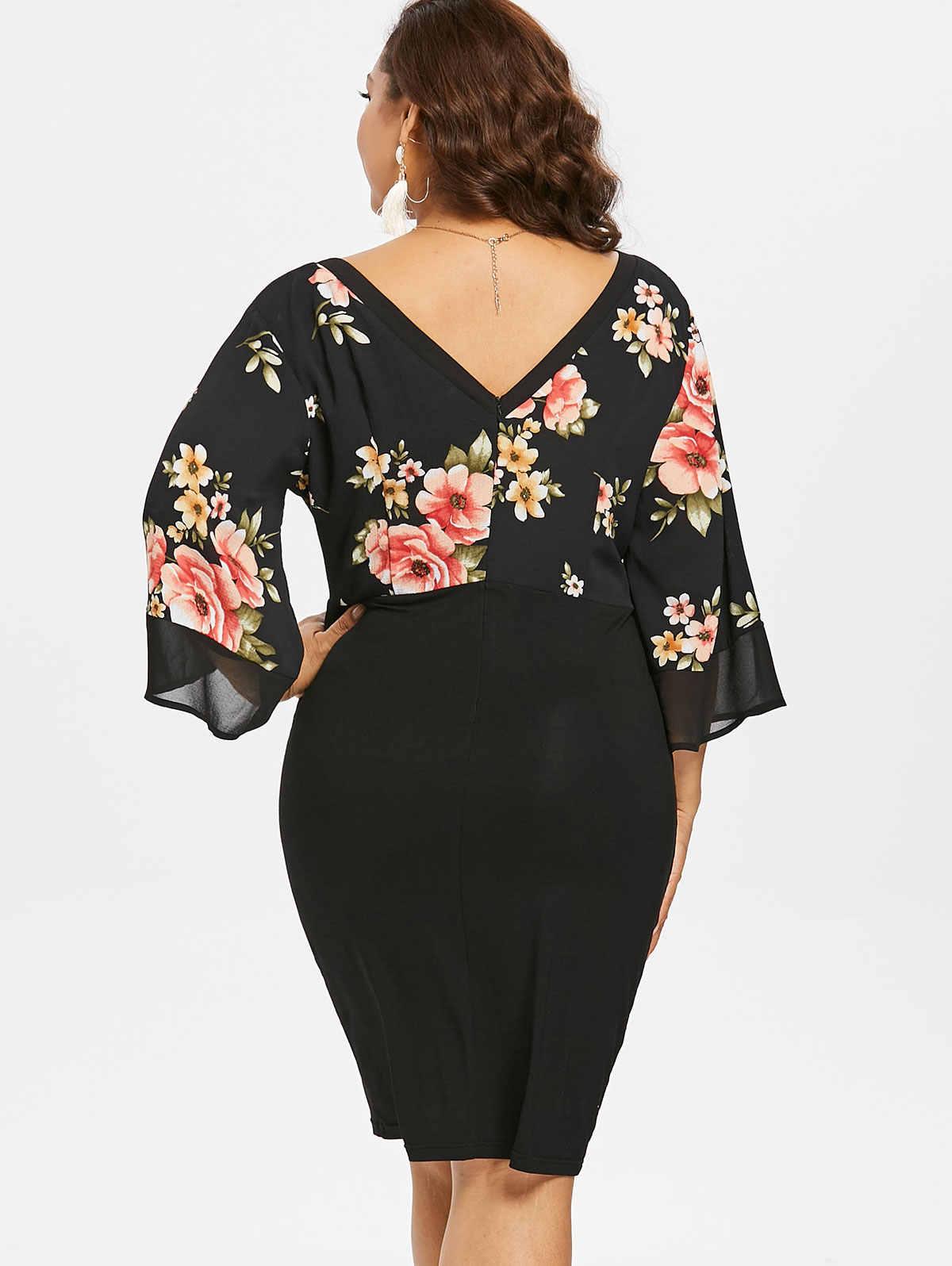 Wisalo женское платье большого размера 5XL с рукавом-колокольчиком, с низким вырезом, с цветочным рисунком, с глубоким вырезом, с рукавом 3/4, весенние платья, вечерние платья ol, Vestidos