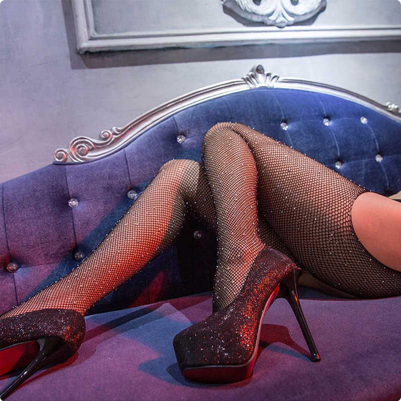 ผู้หญิงปลาสุทธิเซ็กซี่ StockingsTransparent เร้าอารมณ์ชุดชั้นใน Femme ยืดหยุ่นตาข่ายถุงน่องถุงน่องถุงน่องถุงน่องเซ็กซี่ชุดชั้นใน Pantyhose Rhinestone Tights