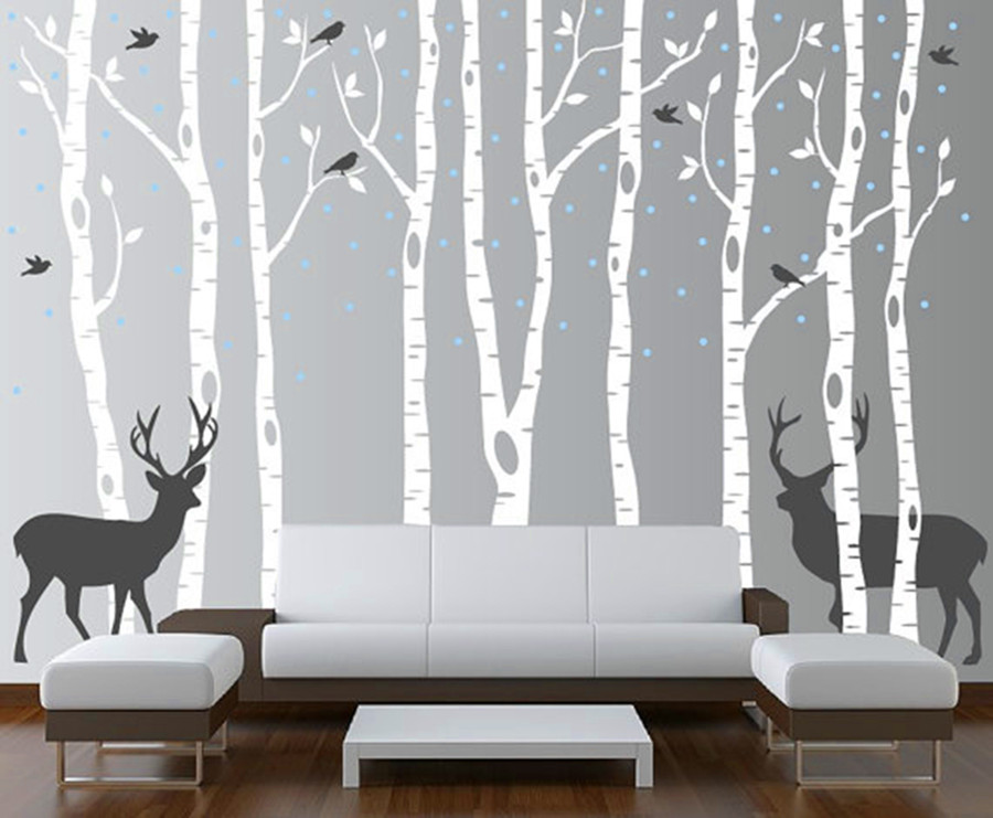 Large Size Snow, Birds, Deer & Tree Wall Sticker For Kids, Cartoon Nursery Baby Room Vinyl Decor Decal