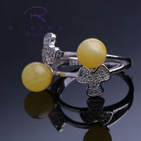 Robira Women Lady Silver Amber Rings Fashion Flower Shiny Open Party Ring Adjustable For Young Girls
