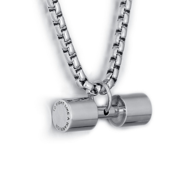Personalized Engrave Men Fashion Stainless Steel Accessories Dumbbell Pendant Necklace Fitness Charm  Male Sport Jewelry