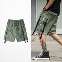 2019 New Arrival High Street Ribbons Casual Shorts Skateboard Streetwear Cargo Green Shorts Men Hip Hop Fashion Short Pants