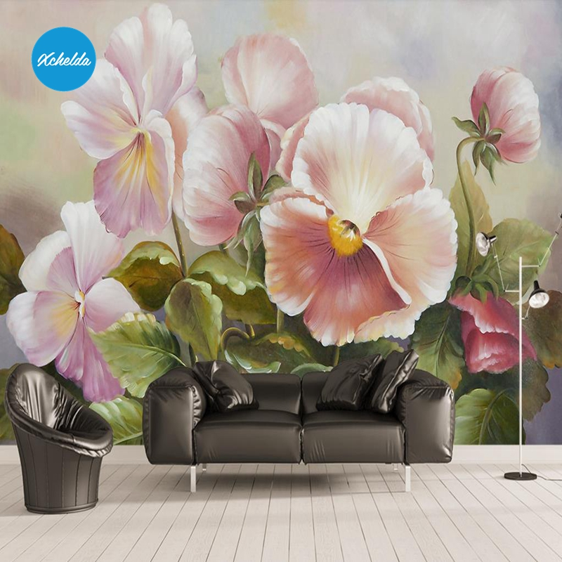 XCHELDA Custom 3D Wallpaper Design Oil Painting Poppy Photo Kitchen Bedroom Living Room Wall Murals Papel De Parede Para Quarto custom 3d wall murals wallpaper luxury silk diamond home decoration wall art mural painting living room bedroom papel de parede