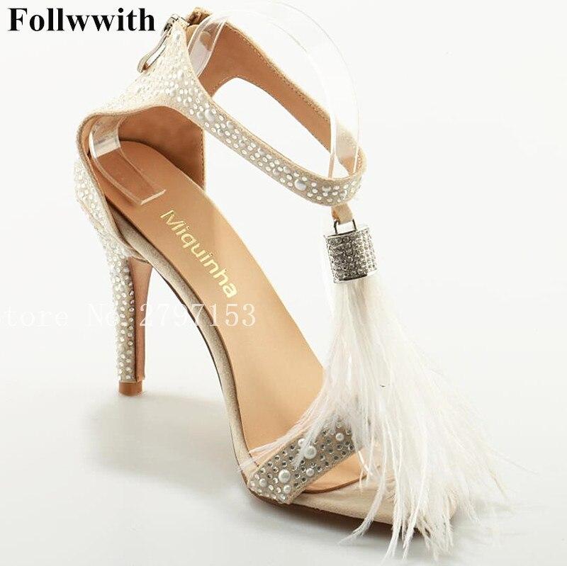2018 Follwwith Crystal Stud Cover Heel Zipper High Heels Women Sandals White Feather Fringe Rhinestone Wedding Shoes Stiletto denim zipper hollow worn stiletto womens sandals