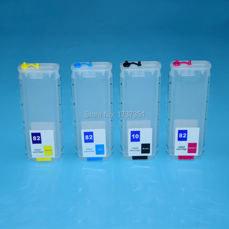 280ml 4 Color With Permanent Chip For HP 10 82 Ink Cartridges For HP Designjet 500 500ps 800 800ps Printer