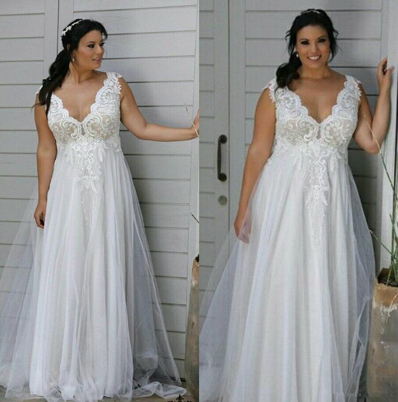 Modest 2019 Plus Size beach Wedding Dresses V Neck Backless ...