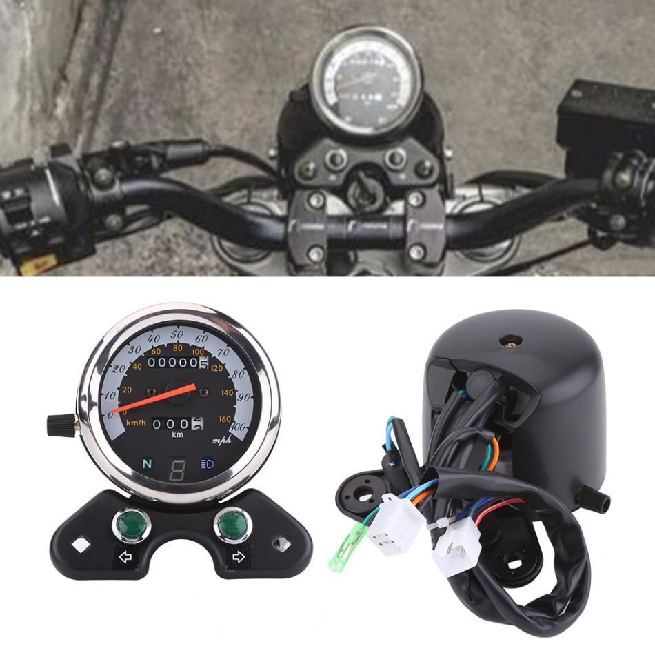 Motorcycle Universal Dual Odometer Speedometer Motorcycle Cafe Racer Speedometer Odometer Gauge 0-160km/h Instrument old school motorcycle gauges