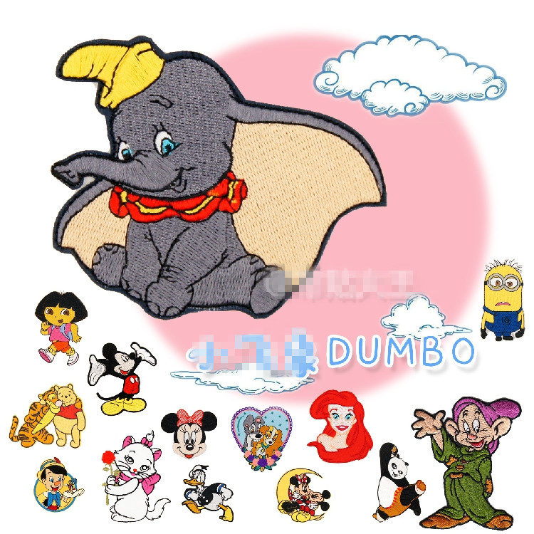 15pcs/lot Dora Dumbo Pinocchio Minions Micky Princess Kung Fu Pand Iron On Sew On Patches For Clothing Girls Patch Husky Kids