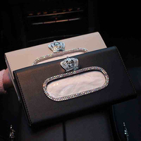 Crown Crystal Car Tissue Box Sun Visor PU Leather Auto Tissue Bag Sunvisor Hanging Holder Case Napkin For Car Accessories