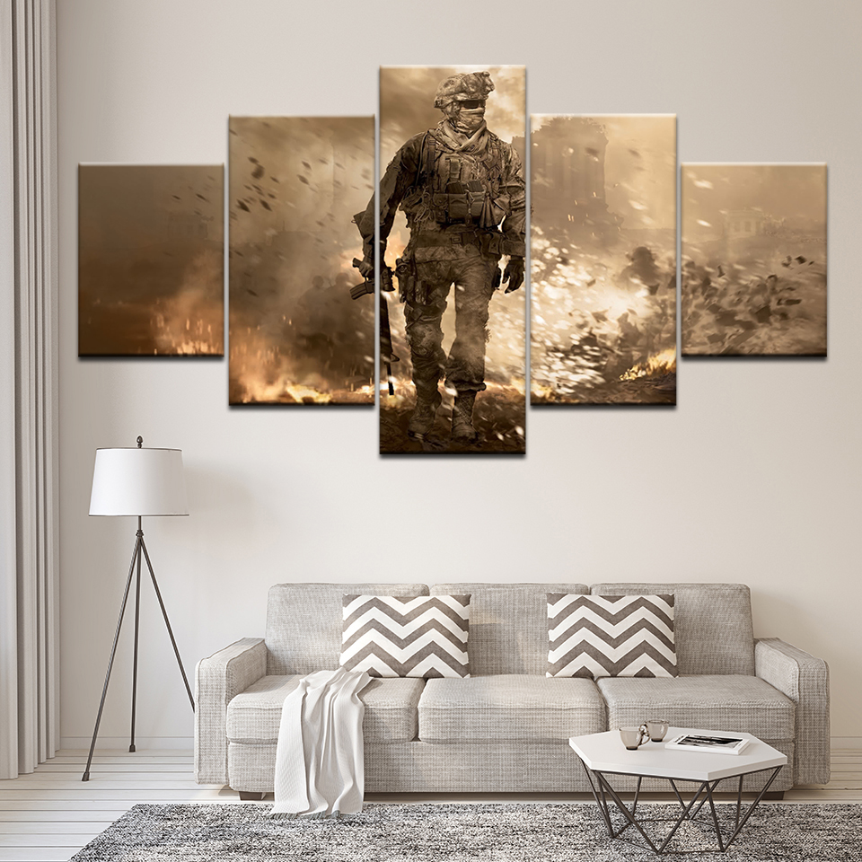 Wall Art Home Decor Frame Abstract Canvas Pictures 5 Pieces Call Of Duty Black Action soldier Paintings HD Printed Game Posters