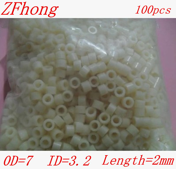 100pcs/lot M3*2mm ABS Nylon Round  Spcaer Standoff, PCB board spacer OD(7MM) X ID(3.2mm)*2mm