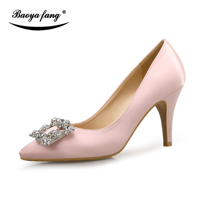New arrival Yellow and Pink crystal Buckle shallow mouth Pumps woman high heels 7cm pointed toe High Pumps Bride wedding shoes-in Women's Pumps from Shoes    2
